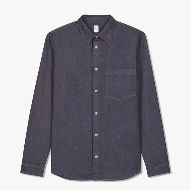 Indigo Denim Shirt, INDIGO, hi-res