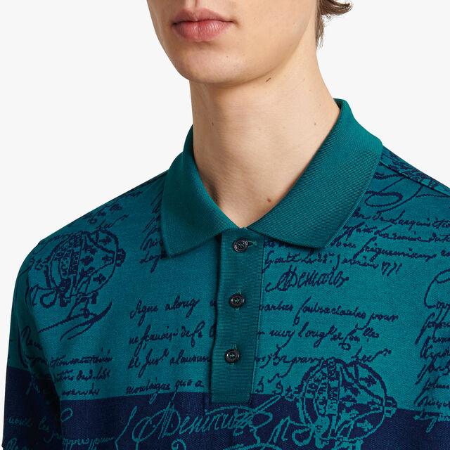 Color Block Jacquard Scritto Polo Shirt, ALPINE GREEN, hi-res
