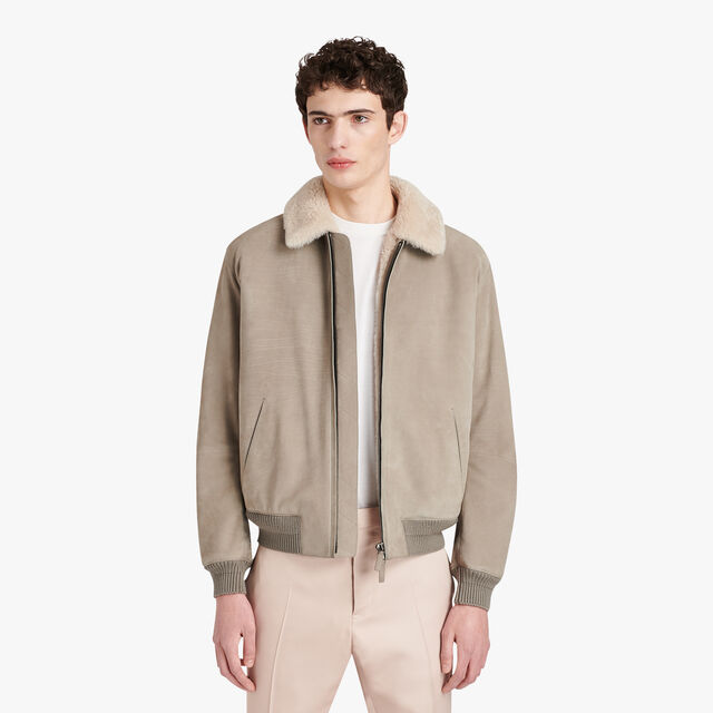 Leather Military Flight Jacket With Shearling Details, IRON, hi-res