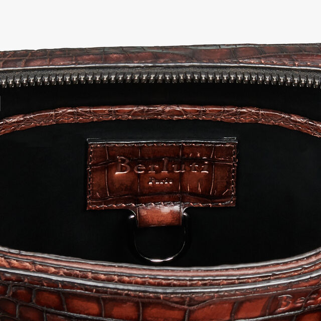Monolithe Small Alligator Leather Messenger Bag, MOGANO, hi-res