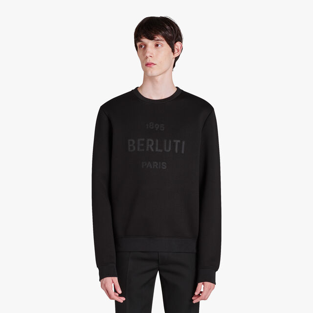 Regular Fit Jersey Sweater With Embroidered Logo, NOIR/DARK LEAD, hi-res