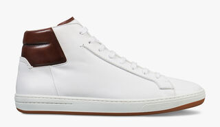 Outline Burano Calf Leather Sneaker, BIANCO/MOGANO, hi-res