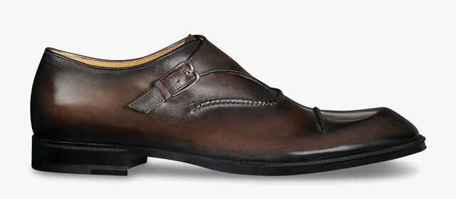 Arthur Lateral Leather Monk Shoe, ICE BLACK, hi-res