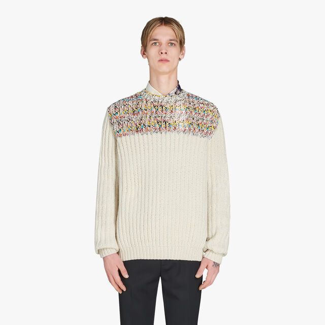 Hand-Made Wool Sweater With Leather Details, OFF WHITE, hi-res