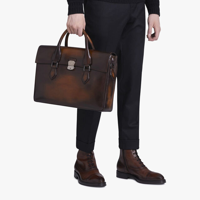 E'Mio Medium Leather Briefcase, TOBACCO BIS, hi-res