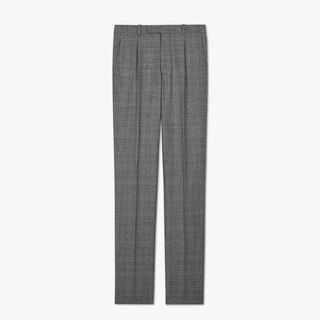 Wool Check Pleated Trousers