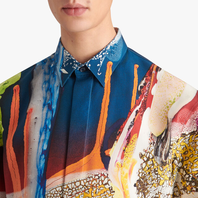 Brian Rochefort Short Sleeve Printed Silk Shirt, BR 2 ORANGE, hi-res