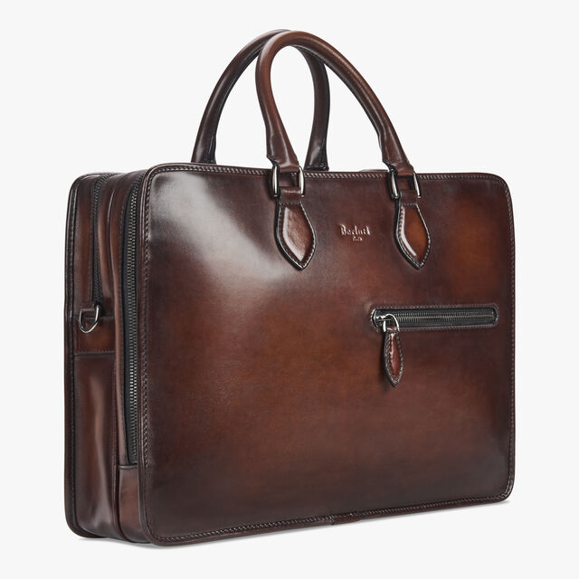 Deux Jours Large Leather Briefcase, MOGANO, hi-res