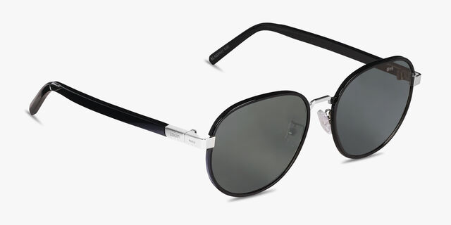 Spectre 圆形金属与醋酸纤维太阳眼镜, BLACK, hi-res