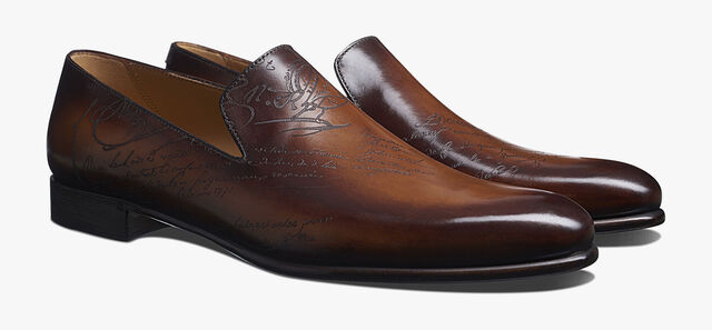 Cursive Galet Scritto Leather Loafer, TOBACCO BIS, hi-res