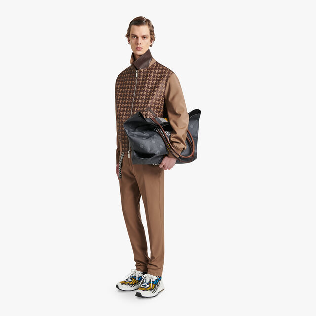 Wool Blouson With Houndstooth Leather Pattern, RIVERSTONE, hi-res