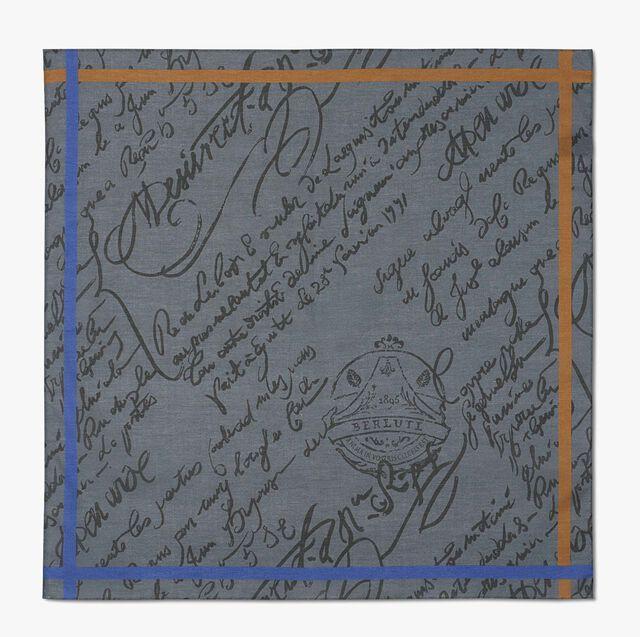 Scritto Cotton Pocket Square, DARK GREY, hi-res