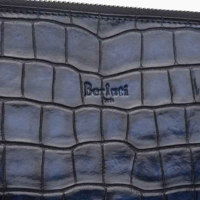 Pochette Nino En Cuir D'Alligator, NERO BLU, hi-res