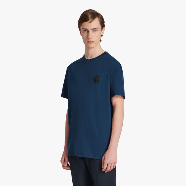Cotton T-shirt With Crest Leather Patch, SPACE BLUE, hi-res
