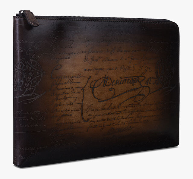 Nino Large Scritto Leather Document Holder, TOBACCO BIS, hi-res