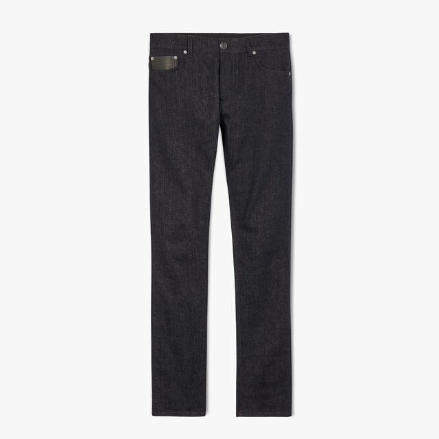 Slim-Fit Tailored Stretch Denim Pants, INDIGO, hi-res