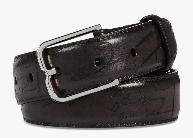 Essence Scritto Leather Belt - 32 mm, DEEP BLACK, hi-res