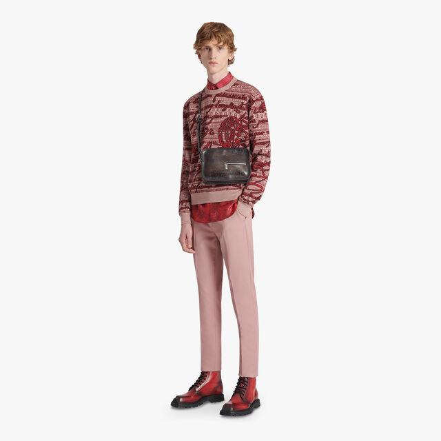 Printed Silk Shirt, BRICK RED, hi-res