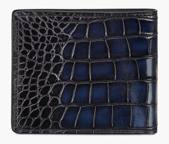 Makore Alligator Leather Compact Wallet, NERO BLU, hi-res