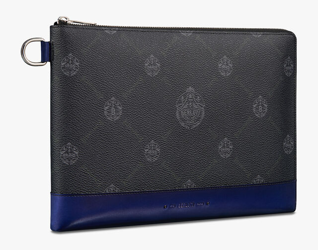 Nino Large Canvas and Leather Clutch , BLACK + UTOPIA BLUE, hi-res