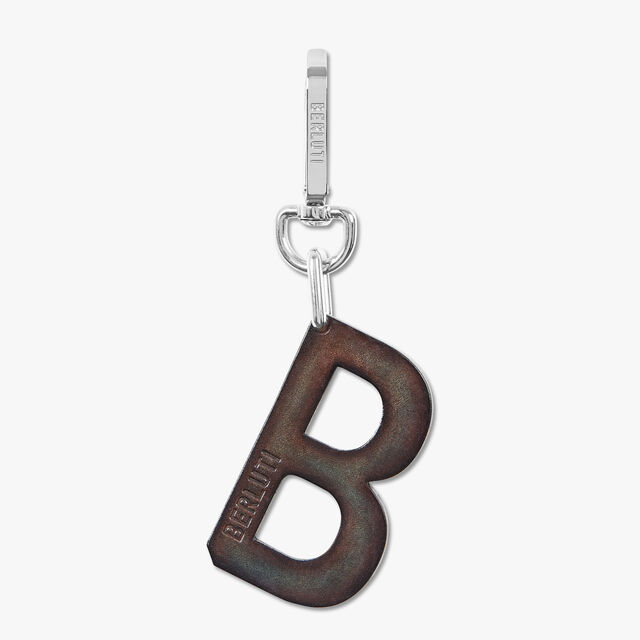 B LOGO 皮革钥匙扣, ICE BROWN, hi-res