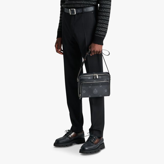 Miles MM Canvas And Leather Messenger, BLACK + TDM INTENSO, hi-res