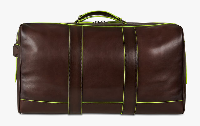 Eclipse Beach Large Leather Travel Bag, BRUN+YELLOW, hi-res