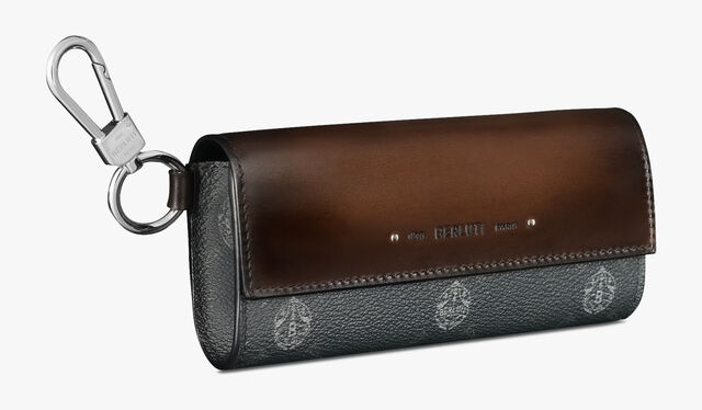 Signature Canvas and Leather Sunglasses Case , BLACK+TDM INTENSO, hi-res