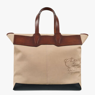 Aire Large Canvas & Calf Leather Tote, BEIGE, hi-res