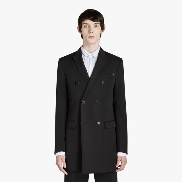 Long Wool Jacket, NOIR, hi-res