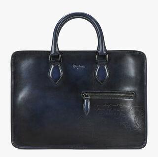 Un Jour Mini Calf Leather Briefcase, BLU NOTTE, hi-res