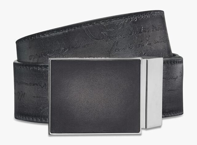 Signature Canvas And Venezia Leather Scritto 35 MM Belt, BLACK+NERO GRIGIO, hi-res