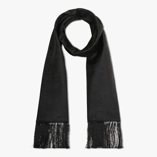 Rectangular Scritto Evening Silk Scarf With Fringes