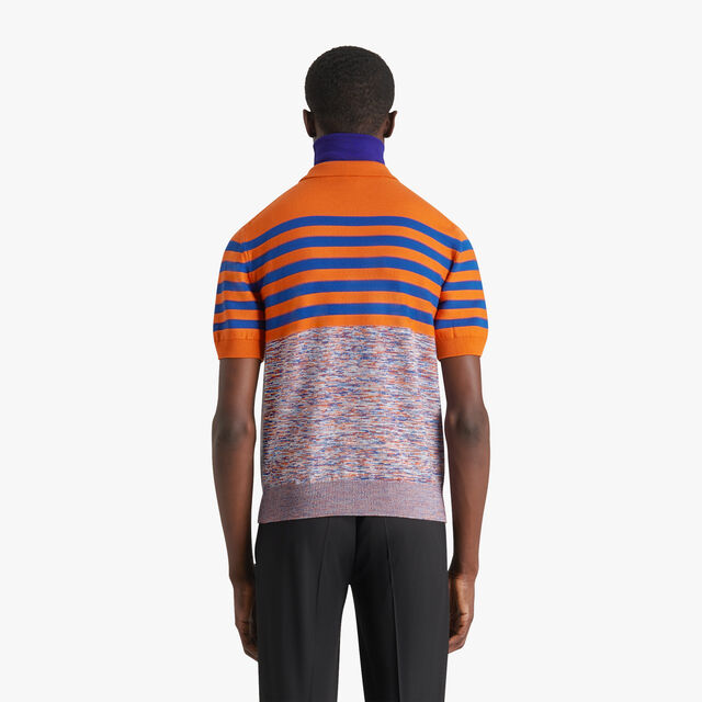 Striped Mouline Polo Shirt, SHADED ORANGE, hi-res