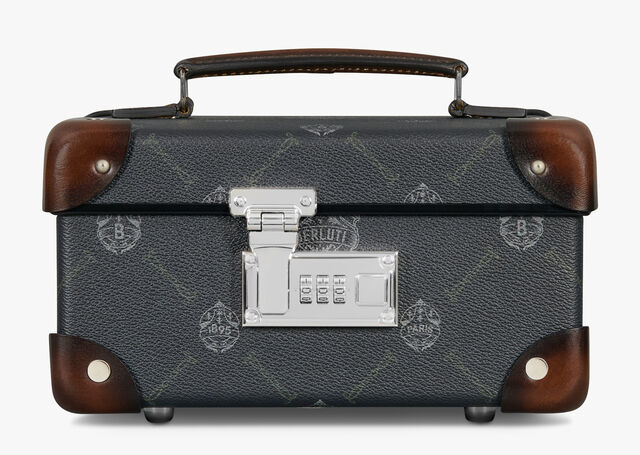 Globe-Trotter Watch Box Canvas And Leather Travel Accessory, BLACK+TDM INTENSO, hi-res
