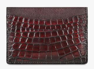Bambou Alligator Leather Card Holder, ROSSO, hi-res