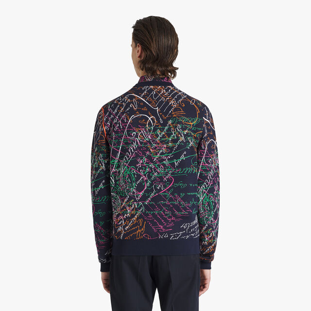 Cotton & Silk All-Over Jacquard Sweater, PLEIADES BLUE, hi-res