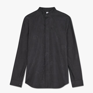 Slim-Fit Scritto Evening Cotton Shirt