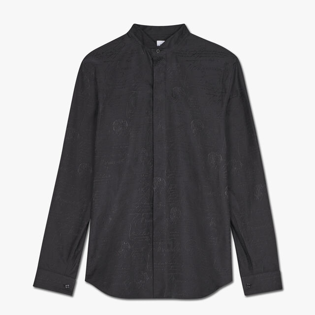 Slim-Fit Scritto Evening Cotton Shirt, NOIR, hi-res