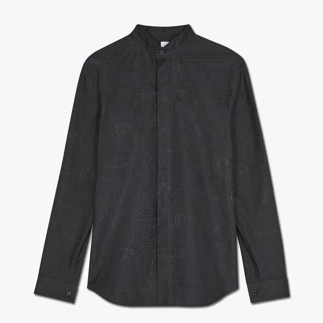 슬림 핏 스크리토 이브닝 코튼 셔츠, NOIR, hi-res