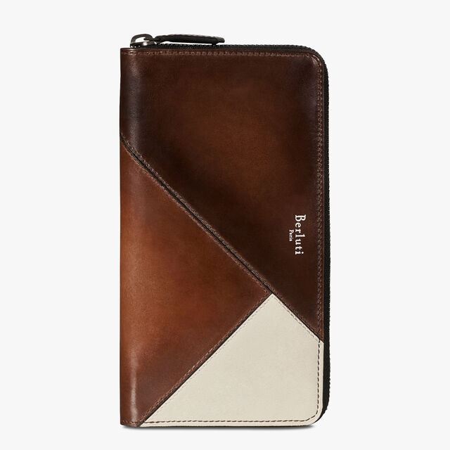 Itauba Patchwork Leather Long Zipped Wallet, BRUN+IVORY, hi-res