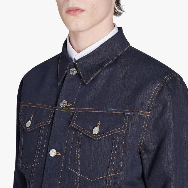 レザーのディテール付きデニムジャケット, INDIGO, hi-res