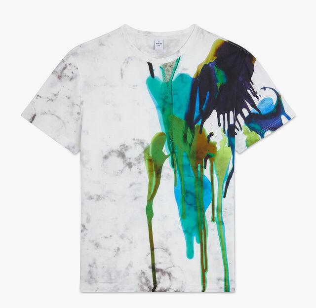 Ink Printed Cotton T-Shirt, AQUA GREEN, hi-res