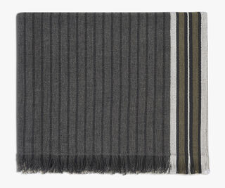Striped Cotton Scarf, DARK GREY, hi-res