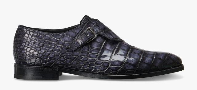 Scars Demesure 鳄鱼皮扣带鞋, NERO GRIGIO, hi-res