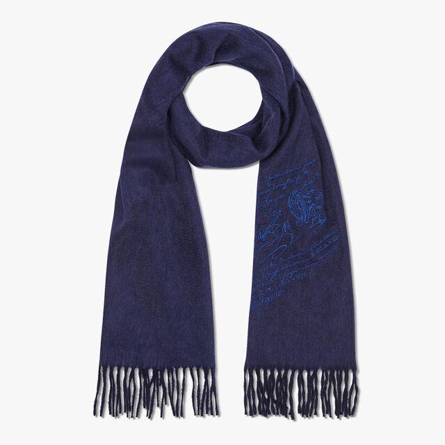 Écharpe Rectangulaire Bicolore En Cachemire Brodé Scritto, INFINITY BLUE, hi-res