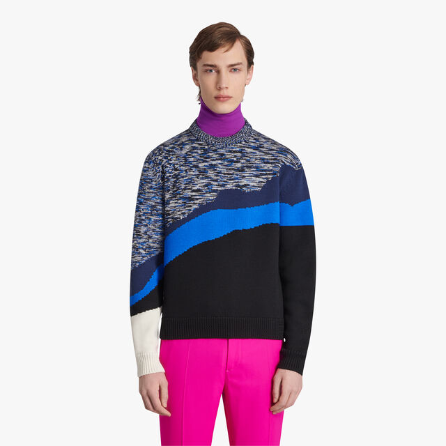 Colorblock Jacquard Sweater, CERULEAN BLUE, hi-res