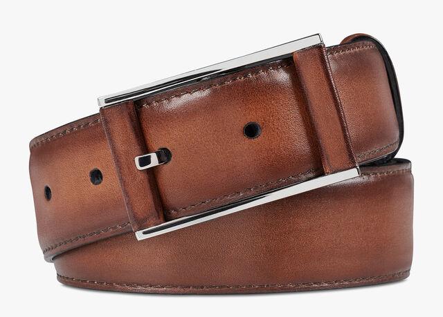 Dual Scritto Leather Belt - 35 mm, MOGANO, hi-res