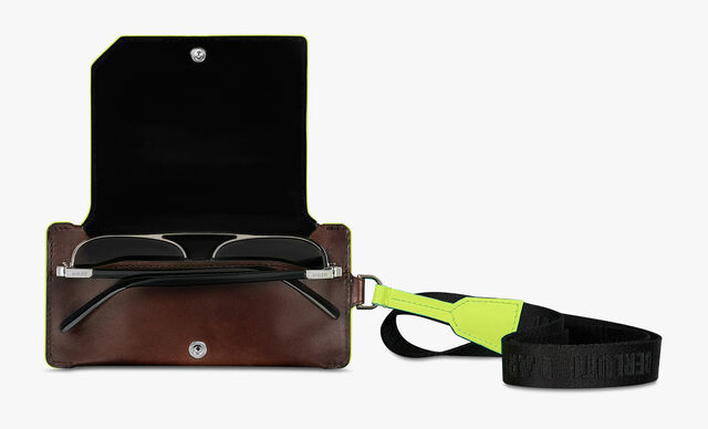 Leather Sunglasses Case With Neon Details , BRUN+YELLOW, hi-res