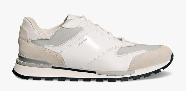 Run Track Torino Glazed Calf Leather Sneaker, BIANCO, hi-res